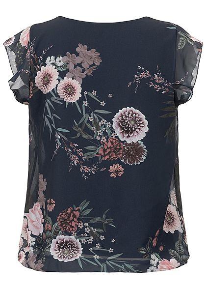 Styleboom Fashion Damen Chiffon Top 2-lagig Blumen Muster navy blau