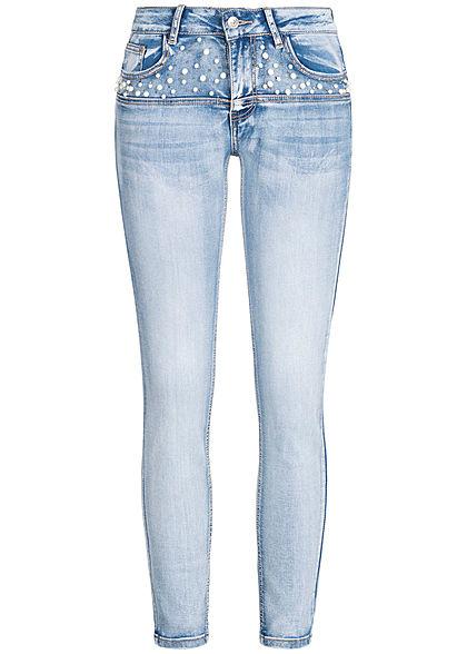 Seventyseven Lifestyle Damen Ankle Skinny Jeans Deco Pearls 5 Pocktes hell blau denim