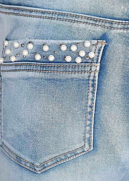 Seventyseven Lifestyle Damen Ankle Skinny Jeans Deco Pearls 5-Pocktes hell blau denim