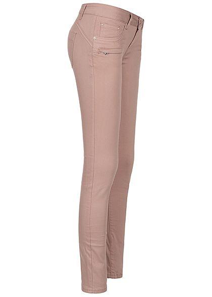 Seventyseven Lifestyle Damen Skinny Jeans Zipper 5-Pocktes rosa denim