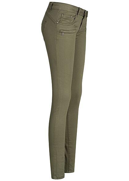 Seventyseven Lifestyle Damen Skinny Jeans Zipper 5-Pocktes olive grün denim