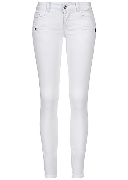 Seventyseven Lifestyle Damen Skinny Jeans Zipper 5-Pocktes weiss denim