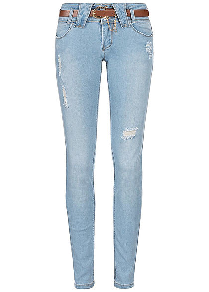 Seventyseven Lifestyle Damen Destroyed Skinny Jeans 4-Pockets hell blau denim