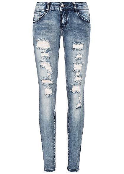 Seventyseven Lifestyle Damen Heavy Destroyed Skinny Jeans 5-Pocktes medium blau denim