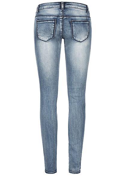 Seventyseven Lifestyle Damen Heavy Destroyed Skinny Jeans 5-Pocktes medium blau denim