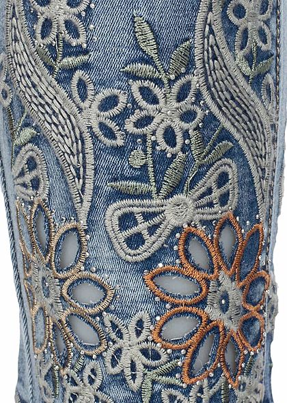 Seventyseven Lifestyle Damen Ankle Skinny Jeans 5-Pocktets Flower Patch hell blau denim