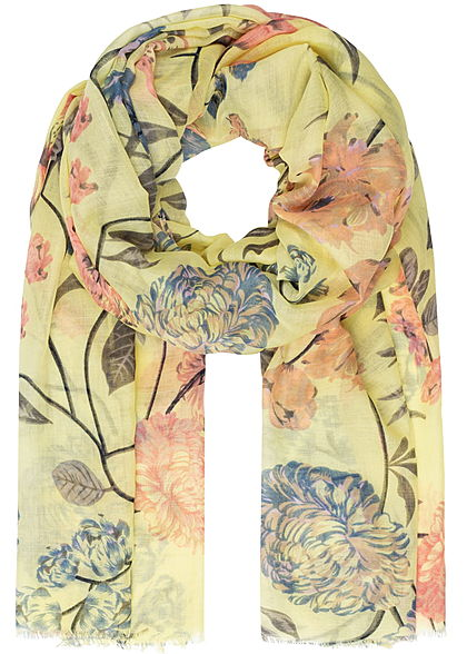 ONLY Damen Weaved Scarf Flower Print popcorn gelb