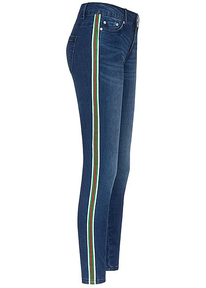 ONLY Damen Ankle Skinny Jeans 5-Pockets Contrasting Stripes medium blau denim