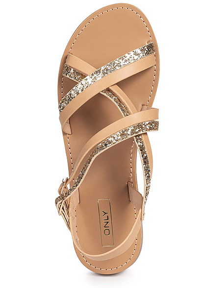 ONLY Damen Strap Sandals Glitter tan braun