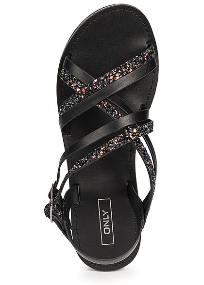 ONLY Damen Strap Sandals Glitter schwarz