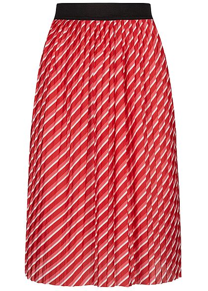 ONLY Damen Pleated Skirt Striped high risk rot weiss