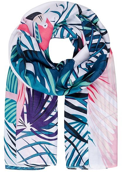 ONLY Damen Waved Scarf Flamingo Print bright weiss rosa blau
