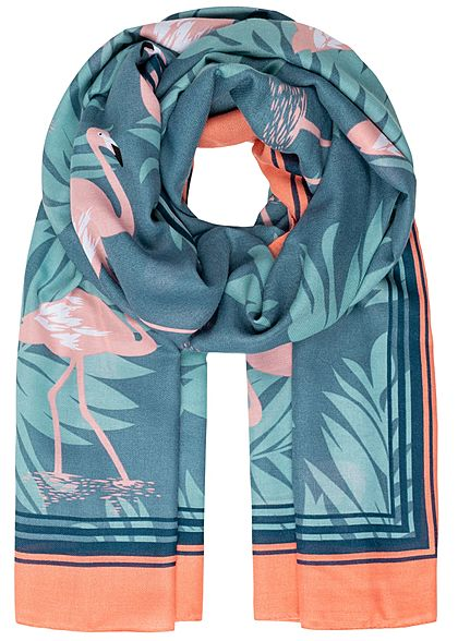 ONLY Damen Waved Scarf Flamingo Print  grün blau