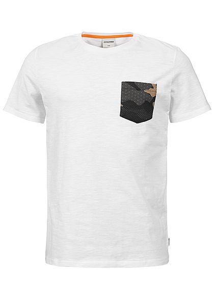 Jack and Jones Herren T-Shirt Breast Pocket weiss