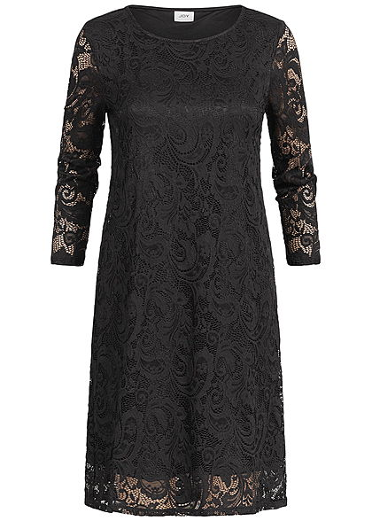 JDY by ONLY Damen 3/4 Sleeve Lace Dress 2 Layer schwarz
