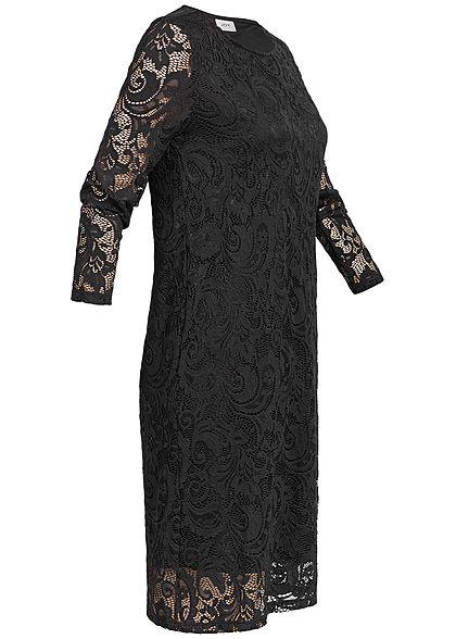 JDY by ONLY Damen 3/4 Sleeve Lace Dress 2 Layer schwarz