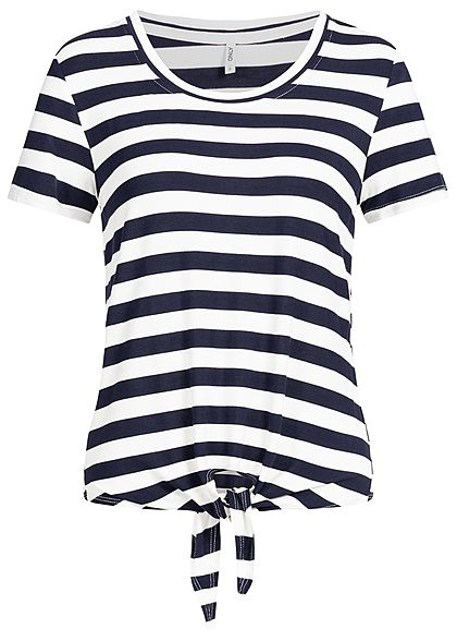 ONLY Damen T-Shirt Striped Tie-Knot NOOS cloud dancer weiss blau
