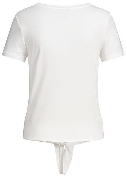 ONLY Damen NOOS T-Shirt Bindedetail vorne cloud dancer weiss
