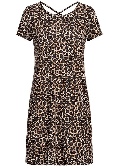ONLY Damen Mini Dress Leo Print Back Side String NOOS schwarz braun