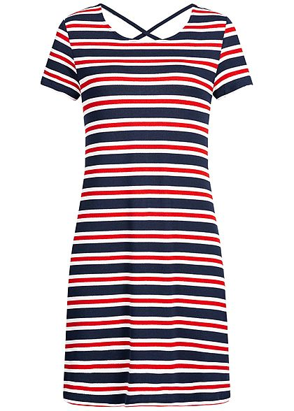 ONLY Damen Mini Dress Striped Back Side String NOOS cloud dancer weiss rot