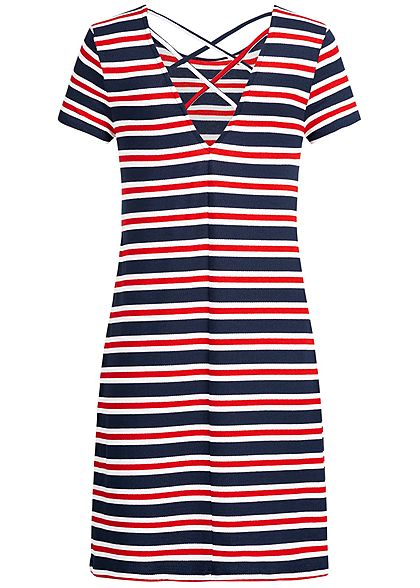 ONLY Damen Mini Dress Striped Back Side String NOOS cloud dancer weiss rot