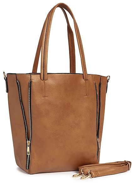 Styleboom Fashion Damen 2in1 Tote Zip Bag dunkel braun