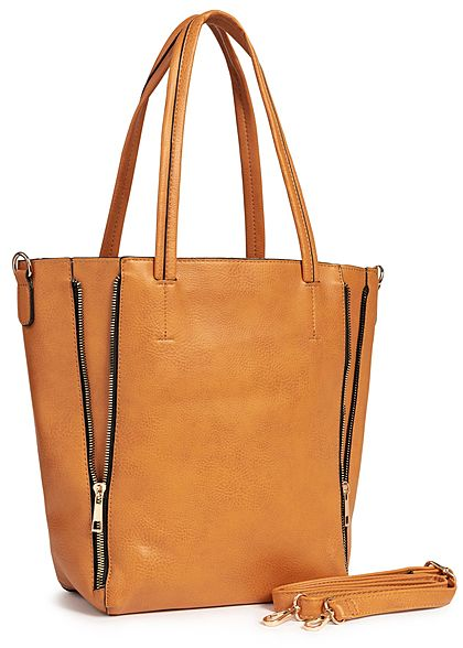 Styleboom Fashion Damen 2in1 Tote Zip Bag hell braun