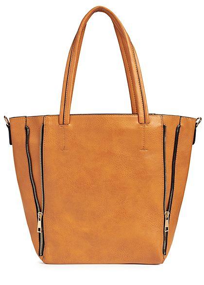 Styleboom Fashion Damen 2in1 Tote Zip Bag hell braun