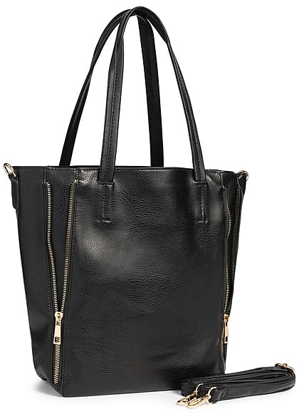 Styleboom Fashion Damen 2in1 Tote Zip Bag schwarz