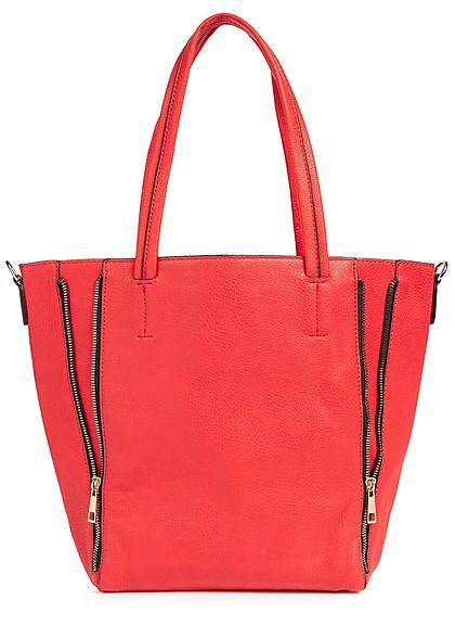 Styleboom Fashion Damen 2in1 Tote Zip Bag rot