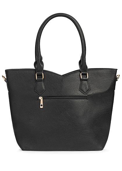 Styleboom Fashion Damen Tote Zip Bag Colorblock schwarz rot weiss