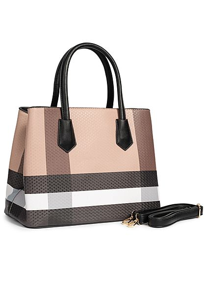 Styleboom Fashion Damen Tote Bag Colorblock braun schwarz weiss