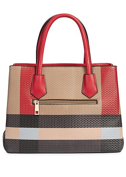 Styleboom Fashion Damen Tote Bag Colorblock rot braun schwarz