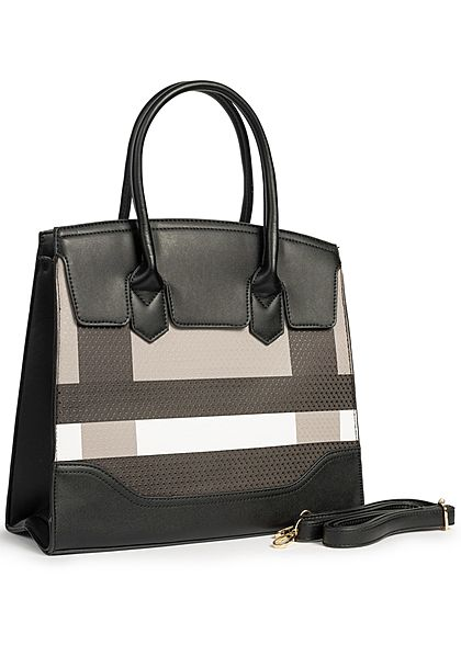 Styleboom Fashion Damen Tote Bag Colorblock schwarz braun weiss