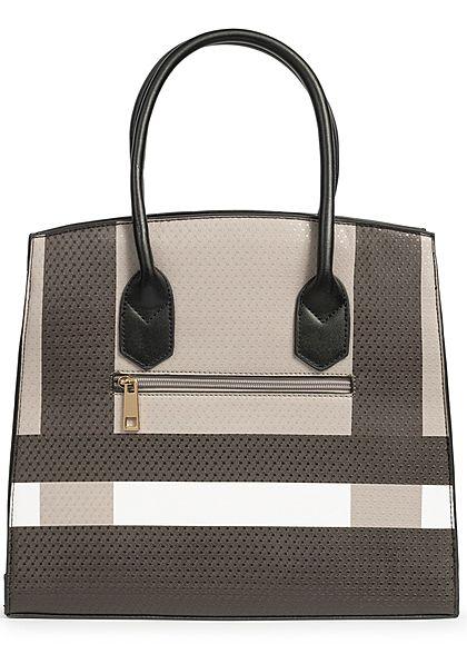Styleboom Fashion Damen Tote Bag Colorblock schwarz braun weiss