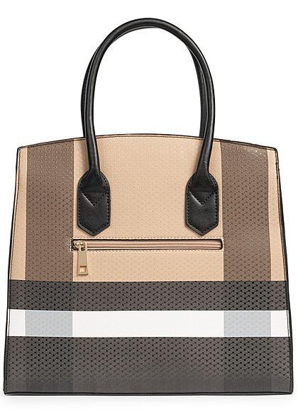 Styleboom Fashion Damen Tote Bag Colorblock braun schwarz weiss