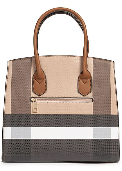 Styleboom Fashion Damen Tote Bag Colorblock hell braun schwarz weiss