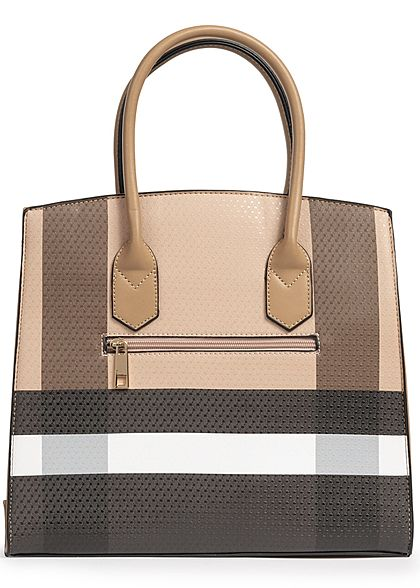 Styleboom Fashion Damen Tote Bag Colorblock khaki braun schwarz weiss