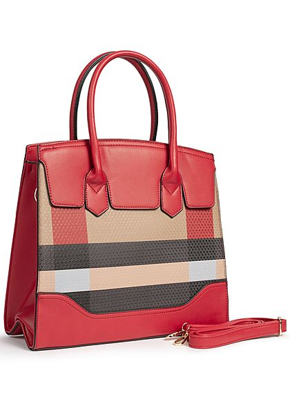 Styleboom Fashion Damen Tote Bag Colorblock rot schwarz braun
