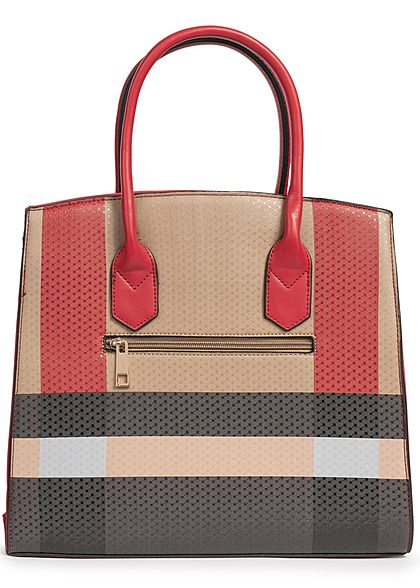 Styleboom Fashion Damen Tote Bag Colorblock rot schwarz braun
