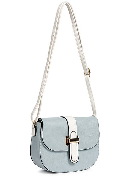 Styleboom Fashion Damen Cross Body Bag hell blau türkis weiss