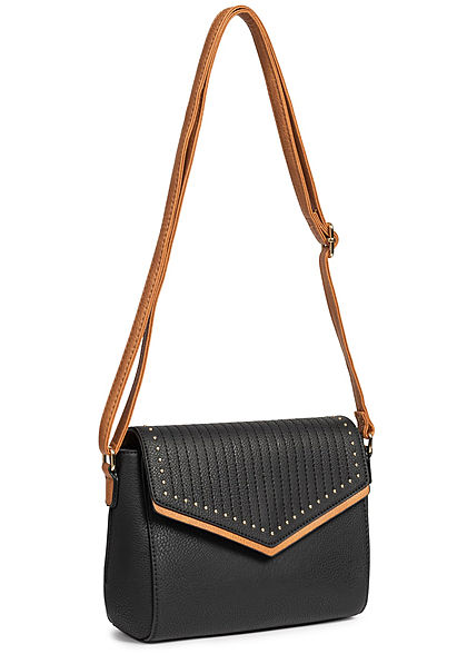Styleboom Fashion Damen Cross Body Bag Rivets schwarz braun
