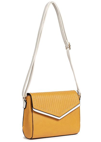 Styleboom Fashion Damen Cross Body Bag Rivets mustard gelb weiss