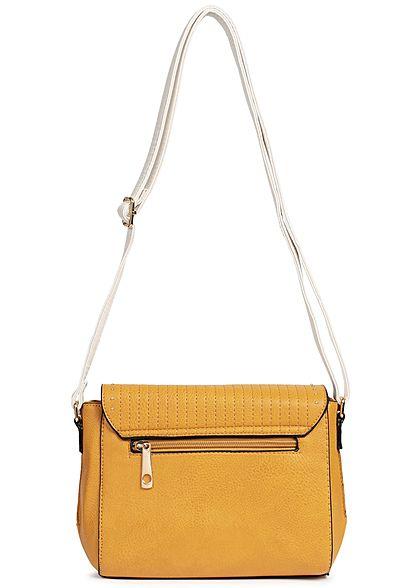 Styleboom Fashion Damen Cross Body Bag Rivets mustard gelb weiss