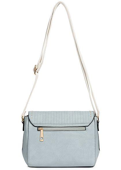 Styleboom Fashion Damen Cross Body Bag Rivets hell blau türkis weiss