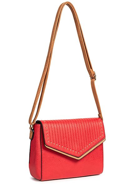 Styleboom Fashion Damen Cross Body Bag Rivets rot braun