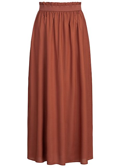 ONLY Damen Paper-Bag Longform Skirt NOOS henna braun rot