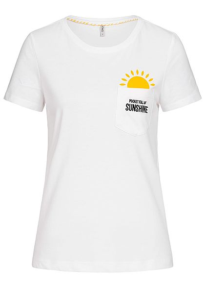 ONLY Damen T-Shirt Breast Pocket Sunshine Print & Patch bright weiss gelb schwarz