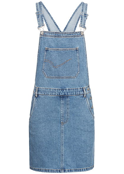 ONLY Damen Pinafore Jeans Dress 3-Pockets medium blau denim