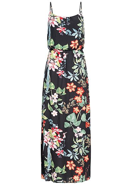 ONLY Damen Maxi Strap Dress Tropical Flower Print schwarz multicolor